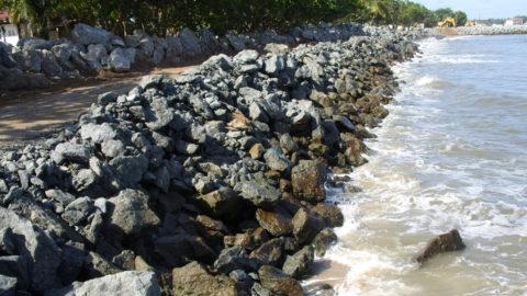 Protective seawall for the Asonga Bata beach